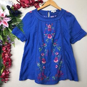 Umgee blue embroidered floral peasant top